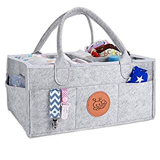 Newthinking Baby Diaper Caddy Organizer, Portable Large Diaper Caddy Tote with Changeable Compartments, Foldable Portable Car Travel Organizer for Changing Nappy, Newborn Shower Gift (Grey)