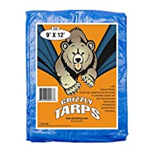 Grizzly Tarps 9-Feet X 12-Feet Blue 6-mil Waterproof Poly Tarp 9x12 Tarpaulin for Camping Hiking Backpacking Tent Shelter Shade Canopy