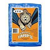Grizzly Tarps 9 x 12 Feet Blue Multi Purpose Waterproof Poly Tarp Cover 5 Mil Thick 8 x 8 Weave