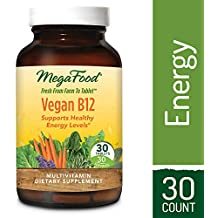 MegaFood - Vegan B12, Supports Natural Energy Stores, Mental Alertness, and the Healthy Formation of Blood Cells with Folate, Beet Root, and B Vitamins, Vegan, Gluten-Free, Non-GMO, 30 Tablets (FFP)