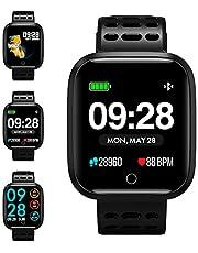 KUNGIX Smartwatch, Fitness Armband Trackers Wasserdicht Uhr Mit Pulsmesser Smart Watch Armbanduhr Damen Herren Kinder Android iOS Mit Schrittzähler Kalorienzähler