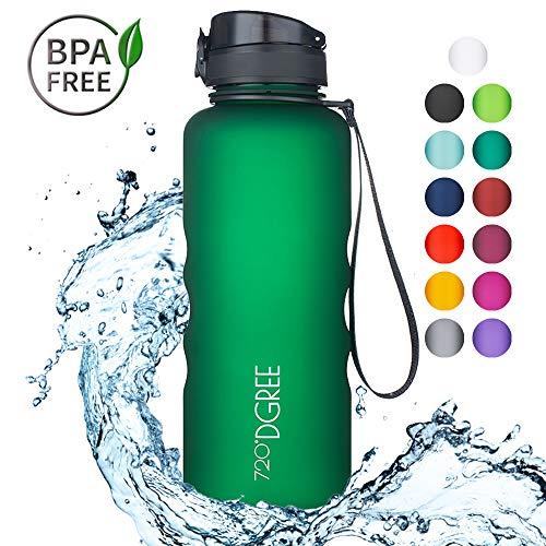 720°DGREE Water Bottle uberBottle Sports Bottles – Tritan Plastic – BPA Free | Ideal Drinking for School, Fitness, Outdoor, Camping | Simple 1-Click Opening | Green, 1.5 Liter, 50oz