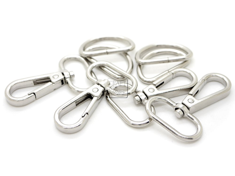 CRAFTMEmore 10 Sets SILVER Plate Swivel Snap Hooks Lobster Clasp Push Gate Fashion Clips with D rings Bag Leather Craft Accessories (3/4 Inch)
