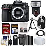 Nikon D7500 Wi-Fi 4K Digital SLR Camera Body 64GB Card + Battery & Charger + Backpack + Tripod + Flash + Diffuser + Remote + Kit