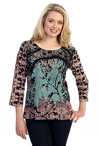 Katina Marie - Cascade Leaves, 3/4 Sleeve Scoop Neck Cotton Print Fashion Top