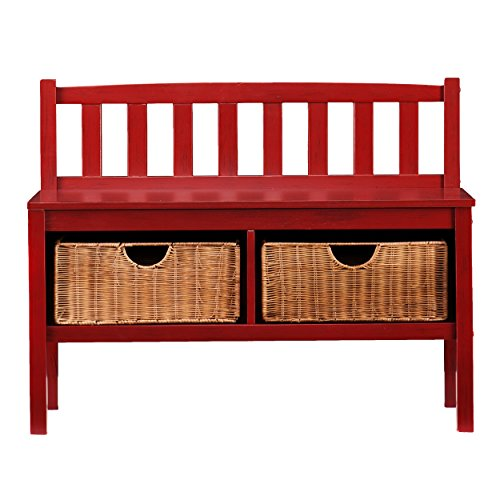 Southern Enterprises Storage Bench with Rattan Baskets, Red Finish