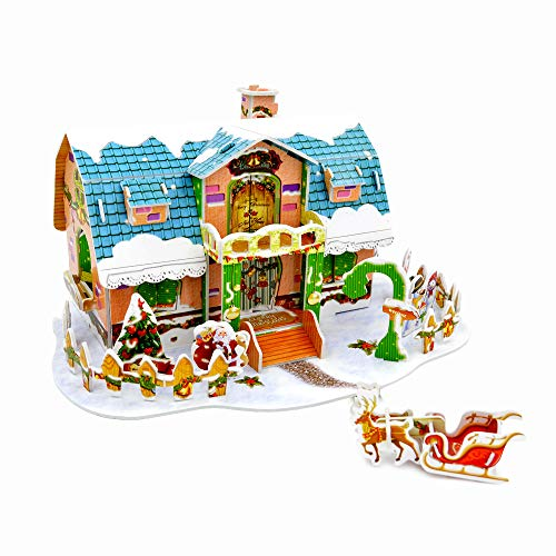 Sourcingbay 3D Puzzle Model Cartoon House Kit, Including The Snowmen, Santa Claus, Santa's Reindeer, Xmas Tree, for Kids 38 Pieces Paper Parts -