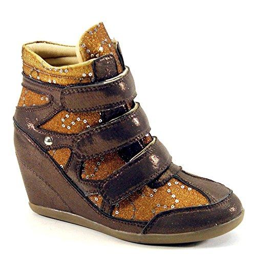 Nuova Brieten Da Donna Con Paillettes E Sottopiede Imbottito Tacco Quadrato Moda Sneakers In Rame