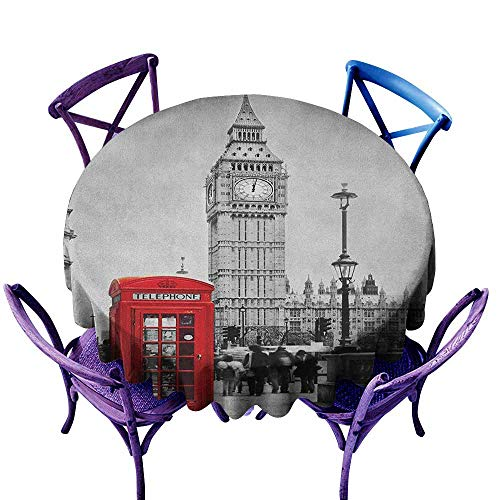 - ONECUTE Round Solid Polyester Tablecloth,London Famous Telephone Booth and The Big Ben in England Street View Symbols of Town Retro,for Events Party Restaurant Dining Table Cover,47 INCH Red Grey