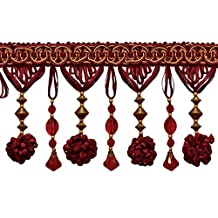 """Stunning Burgundy Red, Gold 4"""" Accented Beaded Tassel Fringe (Sold by The Yard)"""