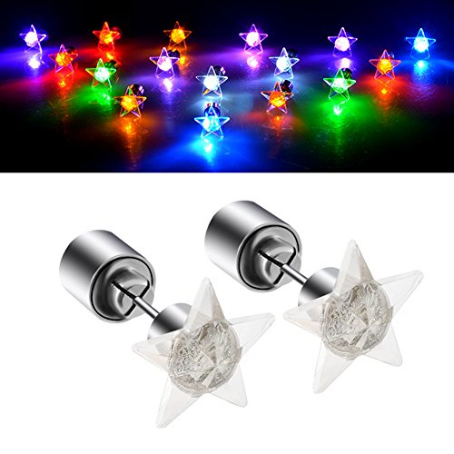Led Earrings, 4 Pair Glowing Light Up Earrings Multicolor Bright Stylish Fashion Ear Drop Pendant Stud Stainless for Party Men Women Halloween Thanksgiving Day Christmas (Green+Purple+Red+Blue)