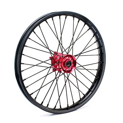 TARAZON 21'' 18'' Off-road Complete Wheel Set Rims Spokes Red Hubs for Honda CRF250R 04-13 CRF450R 04-12 CRF 250X 450X 04-16 by TARAZON (Image #3)