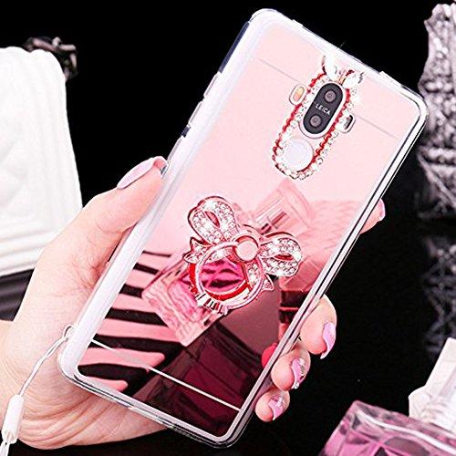Funda Huawei P9,Saincat superior moda espejo funda para el Rhinestone colgante 3d hecho a mano de lujo Sparkle Bring diamantes brillantes Full cristales Bling Diamante Funda Protección Case TPU Silico Gran arco-Oro rosa