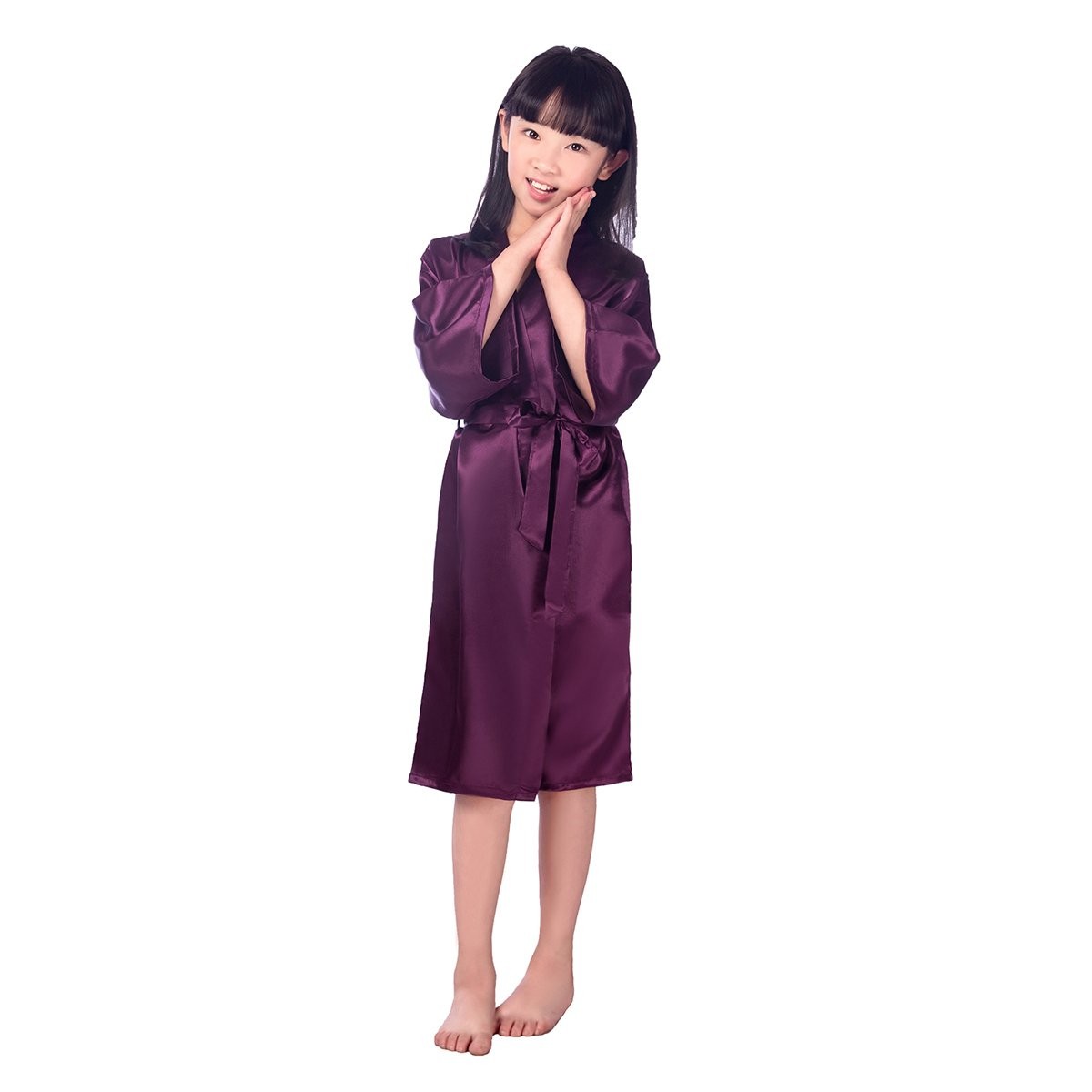 d6bea63f48 Amazon.com  TINKSKY Kids Satin Kimono Robe Bathrobe Nightgown For Spa Party  Wedding Birthday For 45-51 inches Tall Girl (Dark Purple)  Clothing