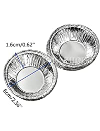 Bargain 125Pcs Disposable Round Silver Foil Baking Cookie Cups Cake Tart Mold discount
