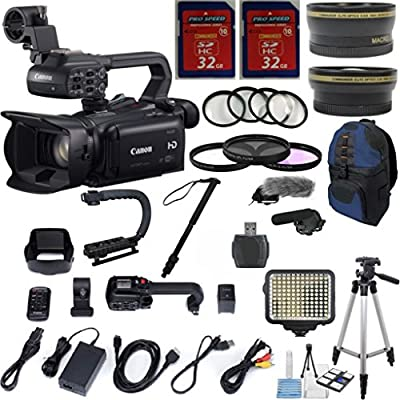 Canon XA20 Professional Camcorder w/ 10x HD Video w/ .43x Wide Angle Lens +2.2x Telephoto Lens +Video LED Light +22pc Accessory Kit - International Version