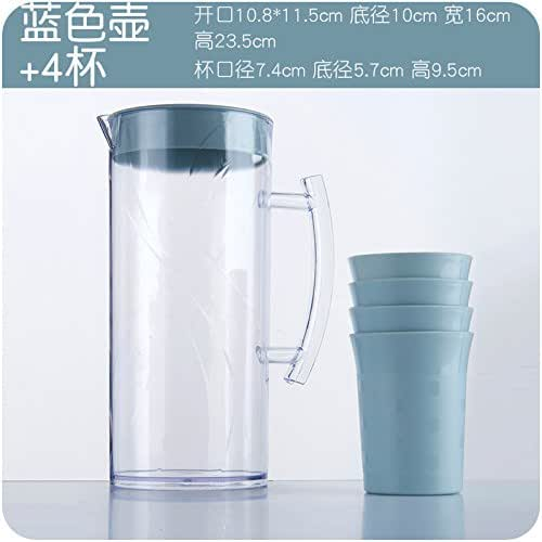 Water cup ceramic cup, frosted ceramic,Cold kettle heat-resistant large capacity plastic jug soy milk juice bottle teapot cold water glass water set cold water bottle, blue pot + 4 cup