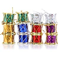 Guang-T Colorful Glitter Christmas Mini Drums Xmas Tree Ornaments Hanging Decoration Pendants Christmas Holiday Wedding Party Decor 12pcs (Assorted Color)