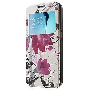 MTP Samsung Galaxy S6 Edge G925 Funda Folio Slim View, Cover, Funda dura integrada, Bookstyle Book Case, Con Ventana de Visualización, Carcasa con Función de Soporte - Loto Elegante