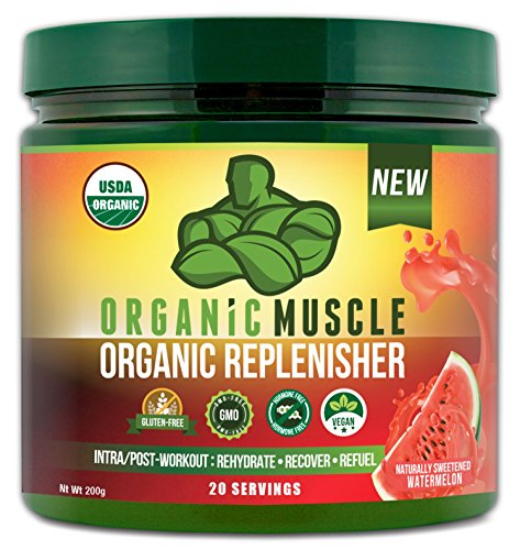 Organic Muscle Replenisher Electrolyte Powder– Organic Post Workout & Intra-Workout Vegan Recovery Drink. Maximum Hydration, w/Coconut Water, Mineral Salts, More. Non-GMO – Watermelon Flavor – 200g For Sale