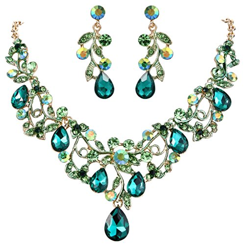 BriLove Women's Bohemian Boho Statement Necklace Dangle Earrings Jewelry Set with Crystal Hollow Filigree Vine Leaf Emerald Color Gold-Tone