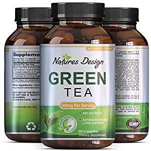 Green Tea - Weight Loss Pills - Detox Cleanse - Burn Belly Fat - Lose Weight Naturally Fast - Dietary Supplement - Pure Extract - For Men & For Women - Pre Workout + Natural Energy - By Natures Design by Natures Design