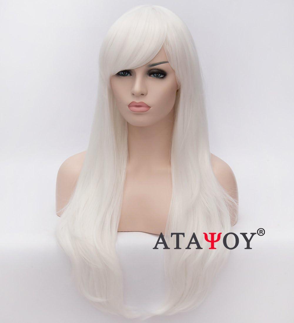 Artículos de ATAYOU®Bundle 2: Una Peluca de Cosplay Sintética Recta larga de 70 cm / 28 Pulgadas con Flequillo Para Mujer de Halloween y Fiesta de Disfraces + 1 Gorra de Peluca (Blanca): Amazon.es: Belleza