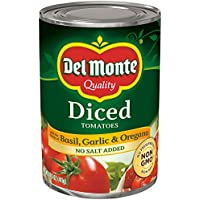 Del Monte Canned Diced Tomatoes with the flavors of Basil, Garlic & Oregano No Salt Added, 14.5-Ounce