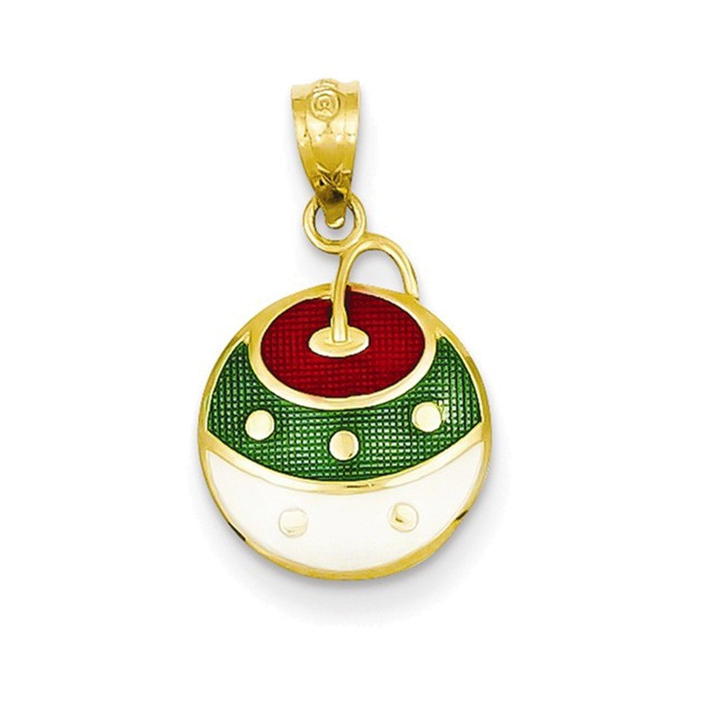 14k Enameled Christmas Ornament Pendant