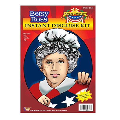 55622 Betsy Ross Costume Kit Wig & Mop Cap Kit - Banana Curls Costumes Wig