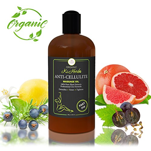 ANTI CELLULITE MASSAGE OIL - SKIN TIGHTENING CELLULITE REMOVER - PERMEATES FASTER THAN CELLULITE CREAM IMPROVES SKIN FIRMNESS ON HIPS THIGHS & BUTTOCKS – 8 OZ Citrus Moisturizing Massage Oil