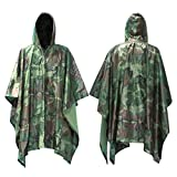 Infreecs Waterproof Rain Cape Raincoat, Rain Poncho for outdoor Camping Military cycling traveling, Hooded Rainwear with Emergency Grommet Corners for Shelter Use - Green