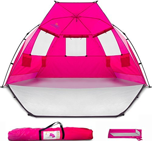 Beach Tent Shelter Shade Cabana – Extra Large Sun Shade Portable Changing Outdoor Tent Deluxe – Quick Giant Pop Up Shade for Adults Kids Toddler Baby – Cabana Beach with Extended Floor 96'x53'x53'