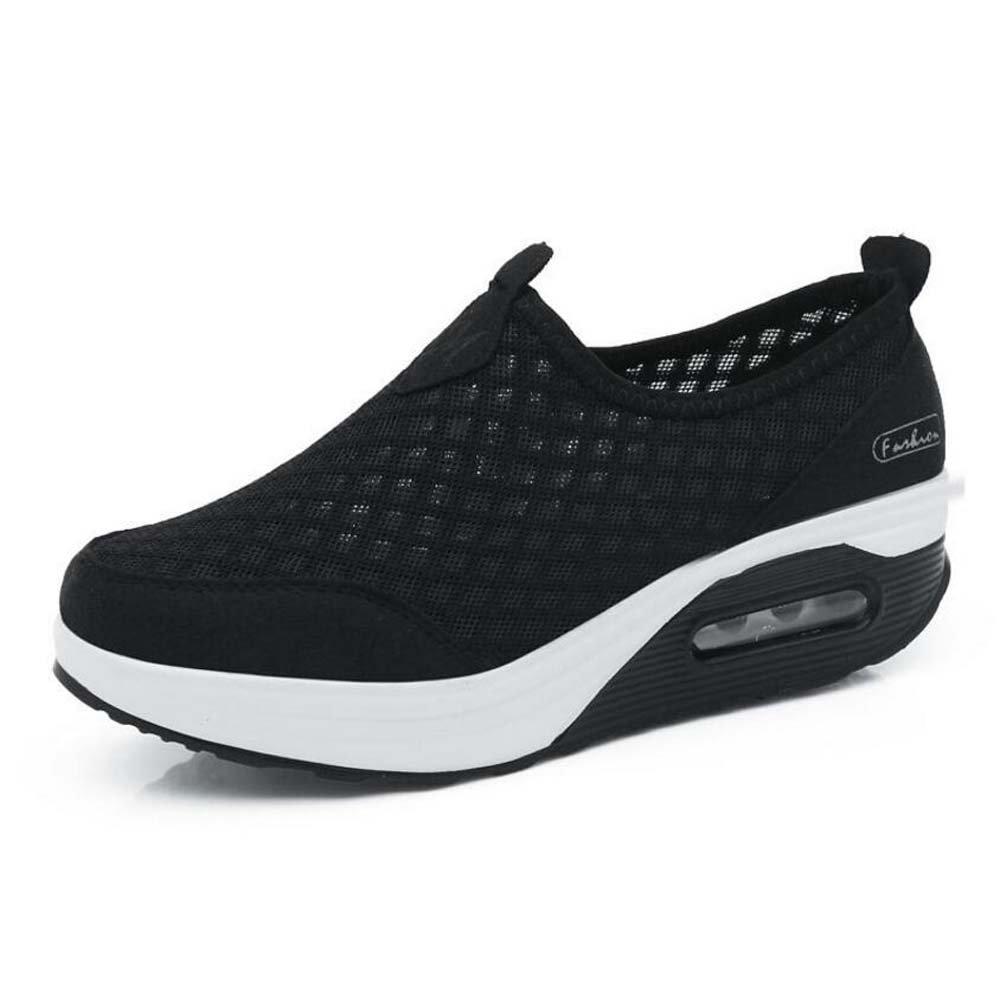 Zapatillas de Deporte Casuales de Las Mujeres Zapatos de Amortiguación de Aire Zapatos Deportivos de Malla Zapatos de Suela Gruesa Primavera y 36 EU|Negro
