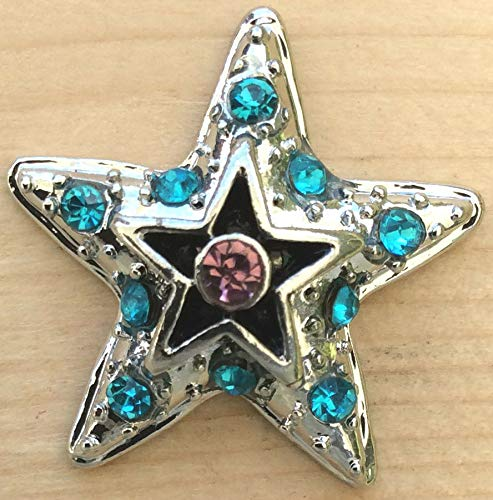 (Snap Chunk Button Silver Star Turq. Sets Charm for Ginger Snap Style Jewelry SE-1172)