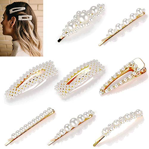 8pcs Pearls Hair Clips Set for Women Girls, Fashion Sweet Artificial Pearl Barrettes, Hair Accessories for Party, Birthday Valentines Day Gifts -