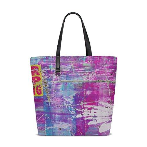 Dnoving Women Grunge Graffiti Urban Graffiti Wall Handle Satchel Handbags Shoulder Bag Tote Purse Messenger Bags