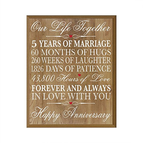 5th Wedding Anniversary Wall Plaque Gifts for Couple, 5th Anniversary Gifts for Her,5th Wedding Anniversary Gifts for Him 12 W X 15
