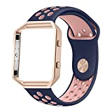 UMTELE Soft Silicone Replacement Strap with Rose Gold Frame for Fitbit Blaze Smart Fitness Watch, Small, Blue Pink