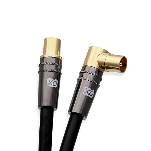 XO- Cable coaxial a?reo 2m Negro Macho a Macho blindado TV/AV con 90 Grados de ?ngulo Recto para televisores UHF/RF, videograbadoras, Reproductores de DVD, DVR, decodificadores de Cable y Sat?Lite