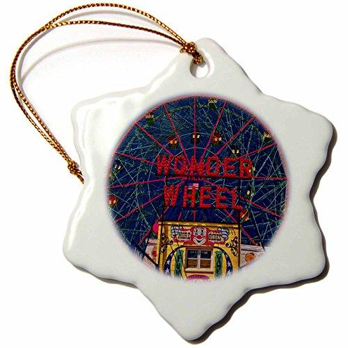 3dRose Chris Lord Landmarks - Wonder Wheel Coney Island - 3 inch Snowflake Porcelain Ornament (orn_55991_1) (Wonder Wheel Coney Island)