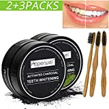 Auperwel Teeth Whitening(2PACK)Natural Activated Charcoal Teeth Whitener Powder with 3 Bamboo ToothBrushes