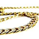 Dancing Stone Miami Cuban Link Golden Layered And Bonded Silver Alloy Semi Precious Necklace
