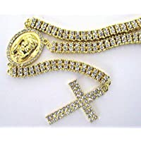 30 14k Gold 2 Row CZ ICED OUT ROSARY Jesus Cross Pendant Necklace Chain Hip Hop