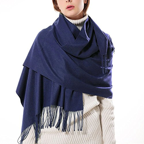 - Womens Thick Soft Cashmere Wool Pashmina Shawl Wrap Scarf - Aone Warm Solid Color Stole(Navy)