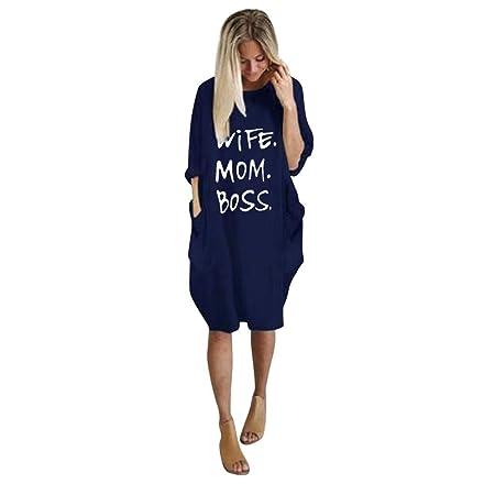 SMILEQ Vestido de Mujer Summer Fashion Wife Mom Boss Letra ...