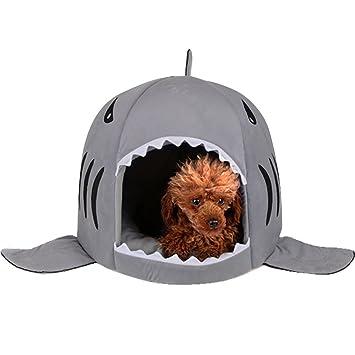 Cama para perros y gatos con cojín y en forma de tiburón, para interiores: Amazon.es: Productos para mascotas