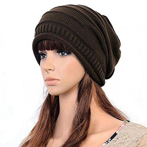 Frau Wintermütze Damen Wollmütze Weiche Warme Woll Strick Lady Hat Baggy Hat (Kaffee)