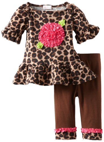 Youngland Baby Girls' Brushed Knit Leopard Legging Dress Set