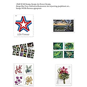 100 Forever Postage Stamps – Stamp Design May Vary (Roll of 100), Bundled with 100 Address Labels